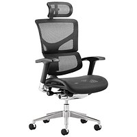 Ergo-Dynamic Posture Chair with Headrest, Black Frame, Arms, Black, Built
