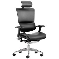 Ergo-Dynamic Leather Posture Chair with Headrest, Black Frame, Arms, Black