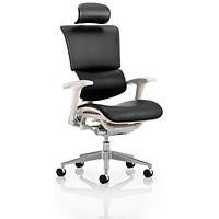 Ergo-Dynamic Leather Posture Chair with Headrest, Grey Frame, Arms, Black