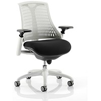 Flex Task Operator Chair, Black Seat, White Back, White Frame