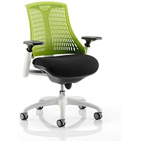 Flex Task Operator Chair, Black Seat, Green Back, White Frame