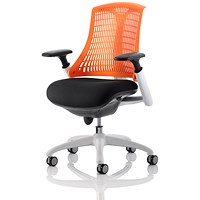 Flex Task Operator Chair, Black Seat, Orange Back, White Frame