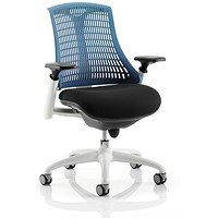 Flex Task Operator Chair, Black Seat, Blue Back, White Frame