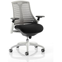 Flex Task Operator Chair, Black Seat, Grey Back, White Frame