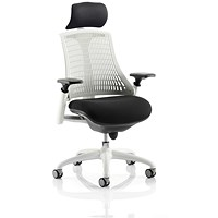 Flex Task Operator Chair With Headrest, Black Seat, White Back, White Frame