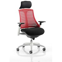 Flex Task Operator Chair With Headrest, Black Seat, Red Back, White Frame