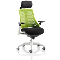 Flex Task Operator Chair With Headrest, Black Seat, Green Back, White Frame