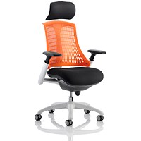 Flex Task Operator Chair With Headrest, Black Seat, Orange Back, White Frame