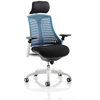 Flex Task Operator Chair With Headrest, Black Seat, Blue Back, White Frame