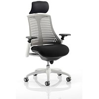 Flex Task Operator Chair With Headrest, Black Seat, Grey Back, White Frame