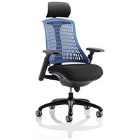 Flex Task Operator Chair With Headrest, Black Seat, Blue Back, Black Frame