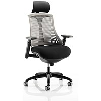 Flex Task Operator Chair With Headrest, Black Seat, Grey Back, Black Frame