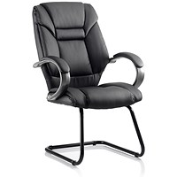 Galloway Leather Cantilever Chair - Black