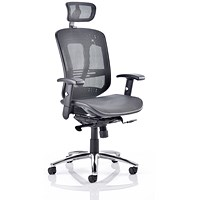 Mirage Executive Chair with Headrest, Black Mesh, Arms, Built