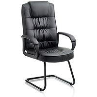 Moore Leather Visitor Cantilever Chair, Black