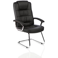 Moore Leather Deluxe Visitor Cantilever Chair, Black