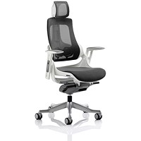 Zure Executive Mesh Chair with Headrest, Charcoal, Built