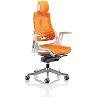 Zure Elastomer Executive Chair with Headrest, Orange