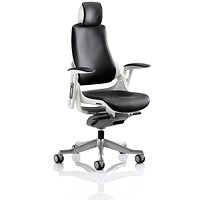Zure Leather Executive Chair with Headrest - Black