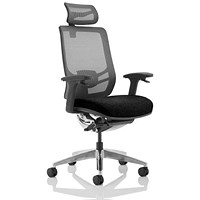Ergo Click Operator Chair, Fabric Seat, Mesh Back, With Headrest, Black