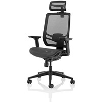 Ergo Twist Operator Chair, Mesh Seat, Mesh Back, With Headrest, Black