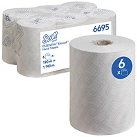 Scott 6695 Essentials Slimroll Hand Towel Rolls, 1-Ply, White, Pack of 6