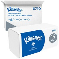 Kleenex Ultra Soft Hand Towels 3Ply White (Pack of 15) 6710