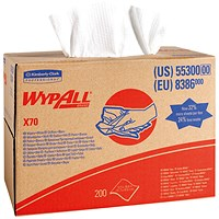 Wypall X70 Cloths Brag Box 1-Ply White 200 Sheets 8386