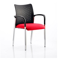Academy Visitor Chair, With Arms, Nylon Back, Fabric Seat, Bergamot Cherry