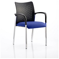 Academy Visitor Chair, With Arms, Nylon Back, Fabric Seat, Stevia Blue