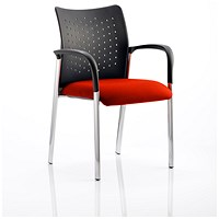 Academy Visitor Chair, With Arms, Nylon Back, Fabric Seat, Tabasco Red