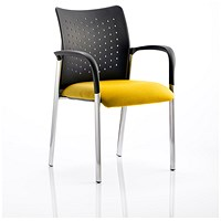 Academy Visitor Chair, With Arms, Nylon Back, Fabric Seat, Senna Yellow