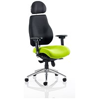 Chiro Plus Ultimate Posture Chair, With Headrest, Black Back, Myrrh Green