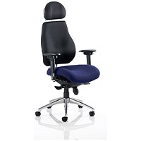 Chiro Plus Ultimate Posture Chair, With Headrest, Black Back, Stevia Blue