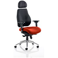 Chiro Plus Ultimate Posture Chair, With Headrest, Black Back, Tabasco Red