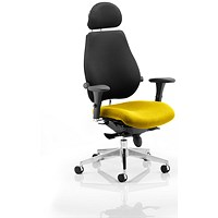 Chiro Plus Ultimate Posture Chair, With Headrest, Black Back, Senna Yellow