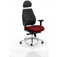 Chiro Plus Ultimate Posture Chair, With Headrest, Black Back, Ginseng Chilli