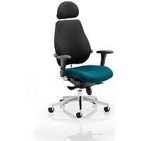 Chiro Plus Ultimate Posture Chair, With Headrest, Black Back, Maringa Teal