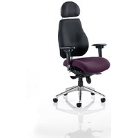 Chiro Plus Ultimate Posture Chair, With Headrest, Black Back, Tansy Purple