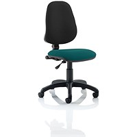 Eclipse 1 Lever Task Operator Chair, Black Back, Maringa Teal