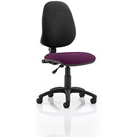 Eclipse 1 Lever Task Operator Chair, Black Back, Tansy Purple