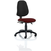 Eclipse 3 Lever Task Operator Chair, Black Back, Ginseng Chilli
