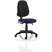Eclipse 3 Lever Task Operator Chair, Black Back, Tansy Purple