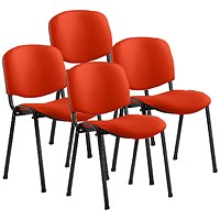 ISO Black Frame Stacking Chair, Tabasco Red, Pack of 4