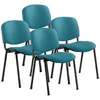 ISO Black Frame Stacking Chair, Maringa Teal, Pack of 4