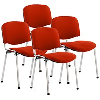ISO Chrome Frame Stacking Chair, Tabasco Red, Pack of 4