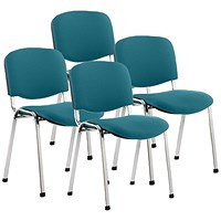 ISO Chrome Frame Stacking Chair, Maringa Teal, Pack of 4