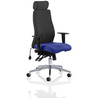Onyx Posture Chair, With Headrest, Black Back, Stevia Blue