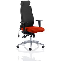 Onyx Posture Chair, With Headrest, Black Back, Tabasco Red