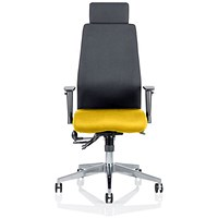 Onyx Posture Chair, With Headrest, Black Back, Senna Yellow